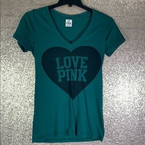 PINK VS || Dark Green Tee